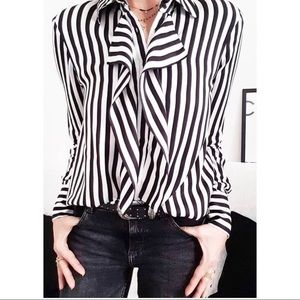 Zara striped blouse with shoulder padding